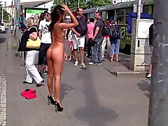 Hot Brunette Nude In Public. Sexy Heels! by triplextroll