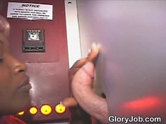 Black Amateur Sucking White Dick From Knees At Glory Hole