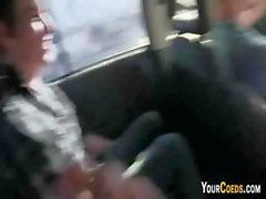 Pussy licking adventure for these three teens and another teen gives a blowjob in the car