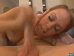 An older grey man eats out a hot small tit babe