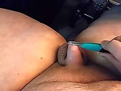 jerking tiny dick with tweezers