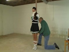 Cheerleader gagged and tied a pole