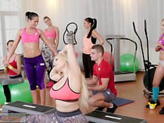Fitness Rooms Big boobs babes suck and fuck teachers cock