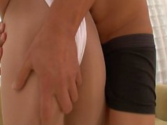 Sexy Japanese babe gets a hot load in her pussy