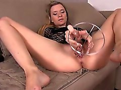 Weird dildo in her spread vagina hole