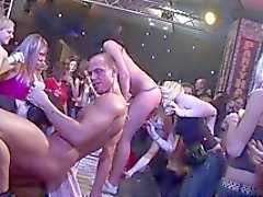 Muscular stud bangs sexy babe hard at a sex party