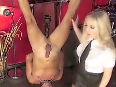 BDSM mistress fists and dildos her slaves ass