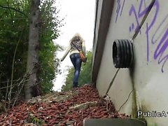 Blonde Czech babe banging outdoor in woods pov