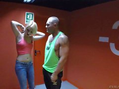 Blonde in jeans Daytona X gets fucked standing up