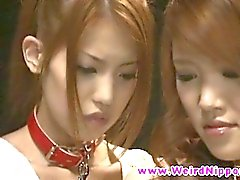 Tied up asian teens undressing