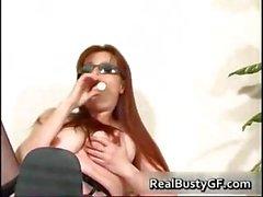 Stunning round tits mom dildo fucked part1