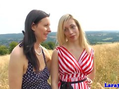 Glam english milf straponfucked by busty babe