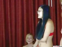 Four beautiful women play strip electrocution game!