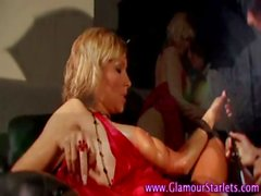 Clothed glamour sluts pussy play