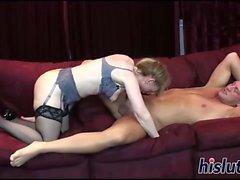 Busty slut gets boned by her man