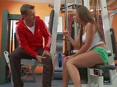 Gioia Biel gets her pussy stretched by a fat cock in the gym