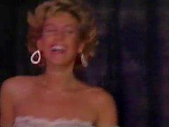 Blonde teacher strips on stage