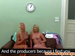 Audition casting girl on girl in the office