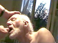 Old man swallowing cum