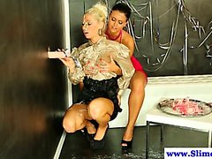 Gloryhole bukkake euro lesbians getting drenched
