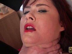 Mature submissive choked while masturbating