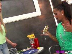 Bukkake lesbian eats box
