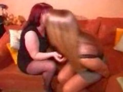 Ripping open pantyhose and having lesbo sex