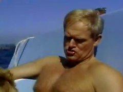 horny blond milf fucked on boat near to beach