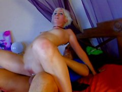 Tattooed emo blonde taking cok in her pussy and ass