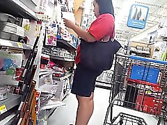 Chunky babe goes out shopping and gets caught on a hidden c