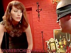 Tied up guy gets femdom cbt and whipping and strapon cock fucking