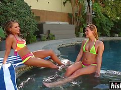 Stunning chicks play with toys outdoors