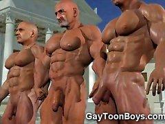 I gay 3D con Gay Cazzoni e di i muscoli !