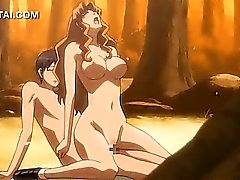 Hentai girl hard fucking her lover in the woods