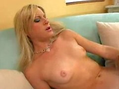 Adorable blonde chicks pussylicking on the couch