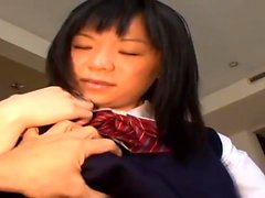 Cute Asian amateur fingering and smoking