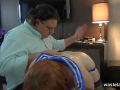 Cute girl in uniform gets spanked hard
