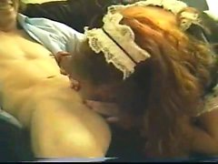 Kinky redhead gimp is currently eating his rigid penis on e