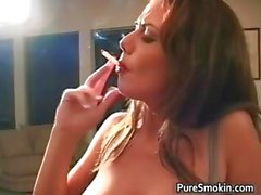 Bigtits brown haired hot babe smoking