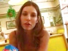 Lovely girl talking in a restaurant