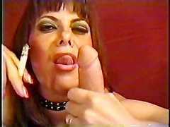 Mature woman sucking smoke and manmeat