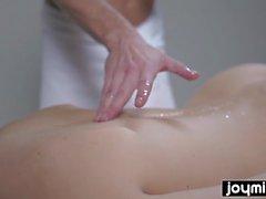 joymii hot blonde gets covered in cum after her massage