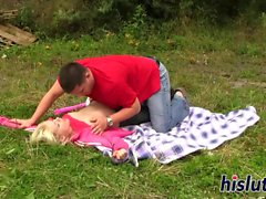 Foxy blonde babe rides on a dick