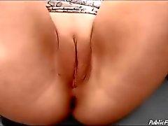 German slut on Big wheel no panties masturbating