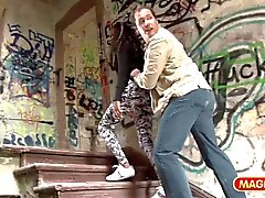 MAGMA FILM German Ebony picked up at the bus stati