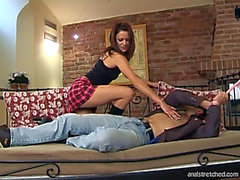 Concupiscent Brunette Hair In Plaid Petticoat Receives Anal Creampie With Her Boots On