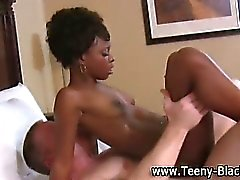 Petite ebony teen gets a cumshot