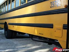Teachers and students in a wild sex party at the school bus