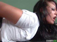 Slutty older teacher showing a schoolgirl real sex