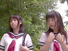 Colegialas japonesas Petite amor de tres vías